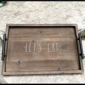 Rae Dunn LET'S EAT Wooden Tray with Metal Handles